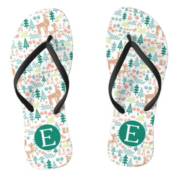 Disney Themed Bambi and Woodland Friends Pattern | Monogram Flip Flops