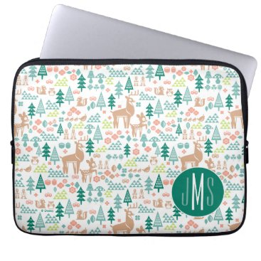 Disney Themed Bambi and Woodland Friends Pattern | Monogram Laptop Sleeve