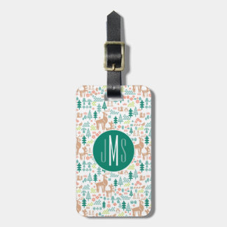 Bambi and Woodland Friends Pattern | Monogram Luggage Tag