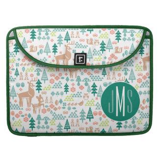 Bambi and Woodland Friends Pattern   Monogram MacBook Pro Sleeve
