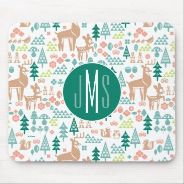 Disney Themed Bambi and Woodland Friends Pattern | Monogram Mouse Pad