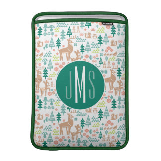 Bambi and Woodland Friends Pattern   Monogram Sleeve For MacBook Air