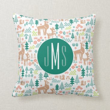 Disney Themed Bambi and Woodland Friends Pattern | Monogram Throw Pillow