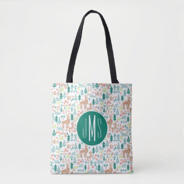 Disney Themed Bambi and Woodland Friends Pattern | Monogram Tote Bag