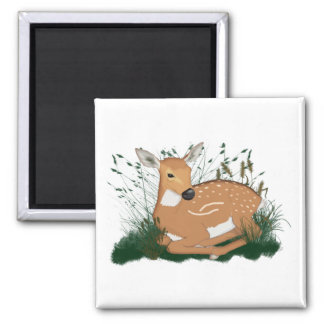 Bambi in the Meadow 2 Inch Square Magnet