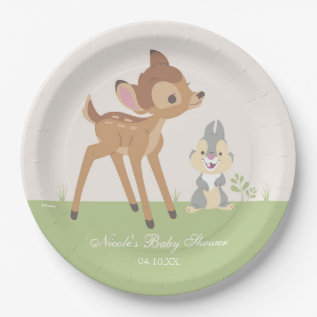 Bambi | Neutral Baby Shower Paper Plate at Zazzle
