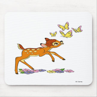 Bambi playing with butterflies mousepad