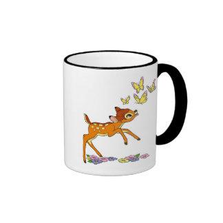 Bambi playing with butterflies mug