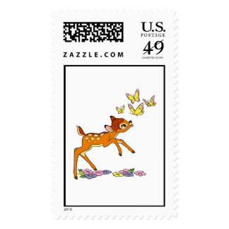 Bambi playing with butterflies stamp