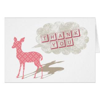 Bambi rosado doblado le agradece tarjeta de felici