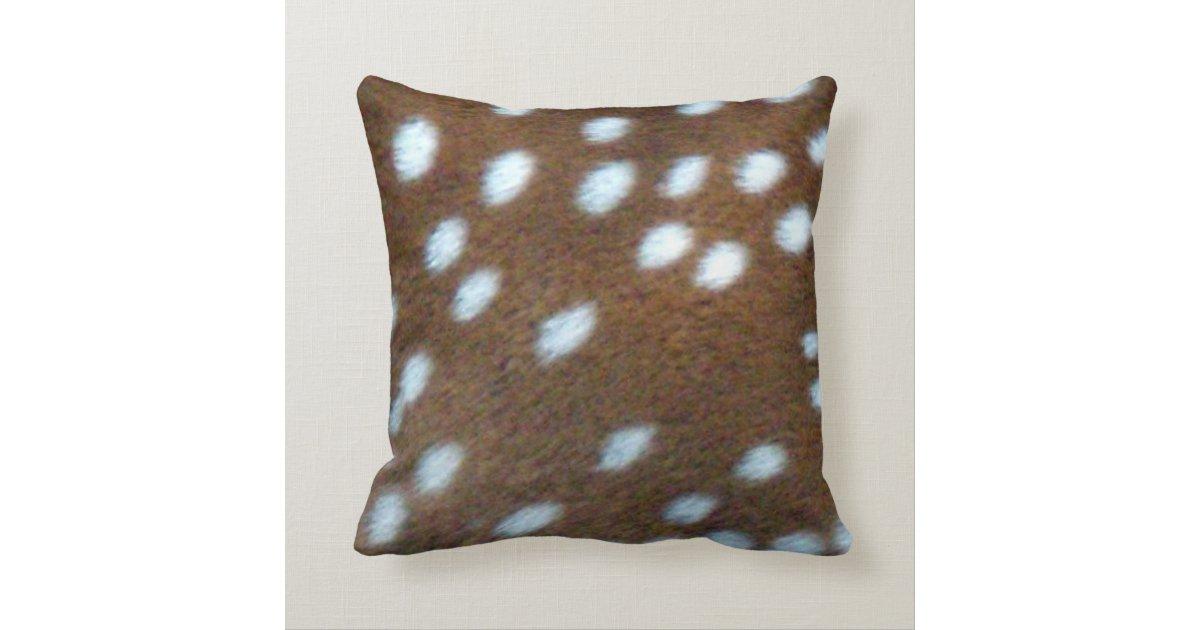 Brown Fur Throw Pillows : Bambi white spots on a brown fur throw pillow Zazzle