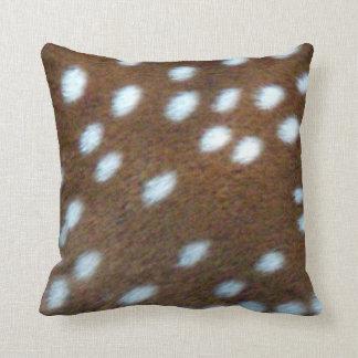 Bambi white spots on a brown fur throw pillow