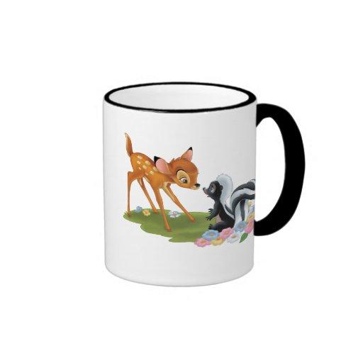 Bambi y flor taza de dos colores