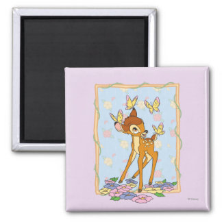 Bambi y mariposas imán cuadrado