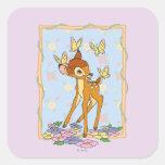 Bambi y mariposas pegatina cuadrada