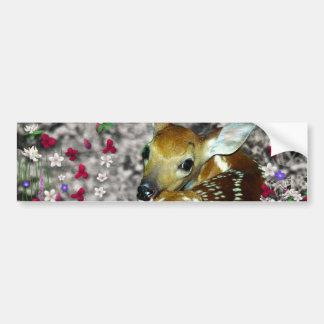 Bambina el cervatillo Blanco-Atado en las flores I Pegatina Para Auto