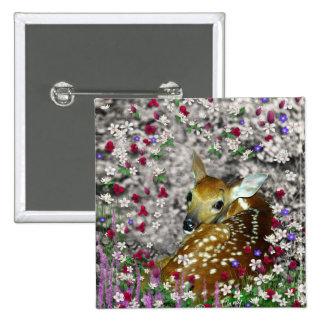Bambina el cervatillo Blanco-Atado en las flores I Pin Cuadrado