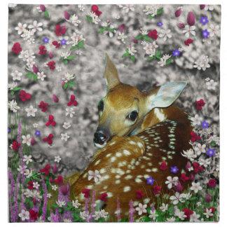 Bambina el cervatillo Blanco-Atado en las flores I Servilleta