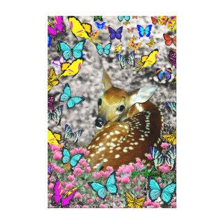 Bambina el cervatillo Blanco-Atado en mariposas Lona Envuelta Para Galerias