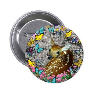 Bambina el cervatillo Blanco-Atado en mariposas Pin Redondo 5 Cm