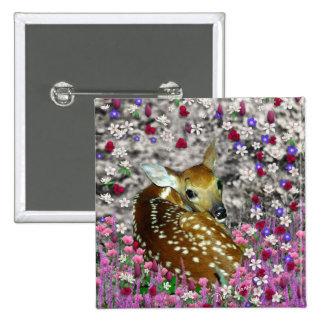 Bambina el cervatillo en las flores II Pin Cuadrado