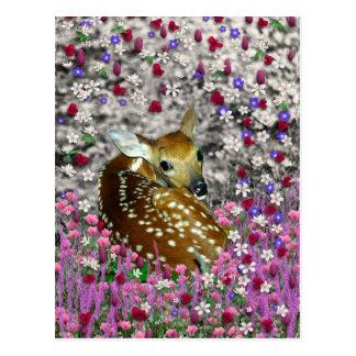 Bambina el cervatillo en las flores II Tarjetas Postales