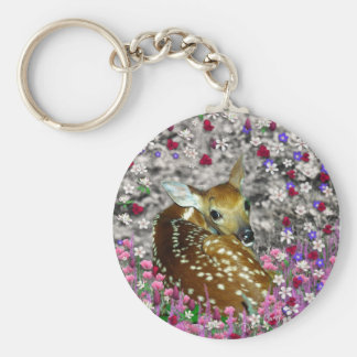 Bambina the Fawn in Flowers II Basic Round Button Keychain
