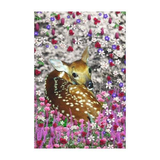 Bambina the Fawn in Flowers II Canvas Print