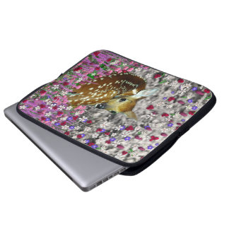 Bambina the Fawn in Flowers II Laptop Sleeve