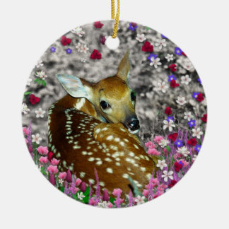 Bambina the Fawn in Flowers II Christmas Ornament