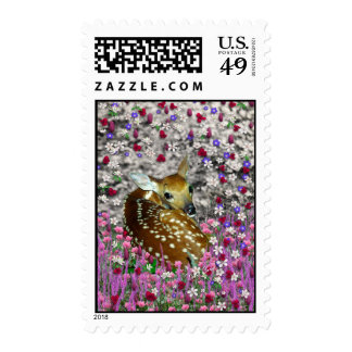 Bambina the Fawn in Flowers II Postage