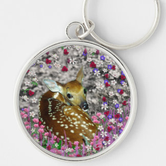 Bambina the Fawn in Flowers II Silver-Colored Round Keychain