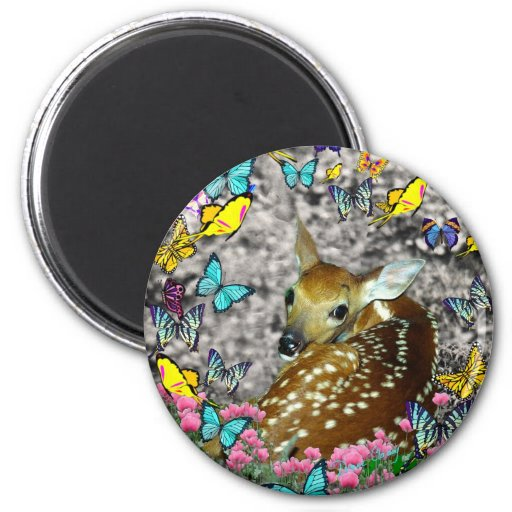 Bambina the White-Tailed Fawn in Butterflies 2 Inch Round Magnet