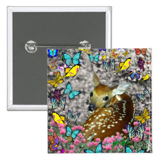 Bambina the White-Tailed Fawn in Butterflies 2 Inch Square Button