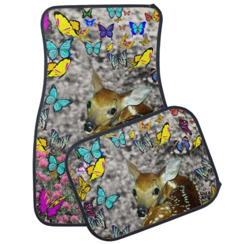 Bambina the White-Tailed Fawn in Butterflies Car Floor Mat