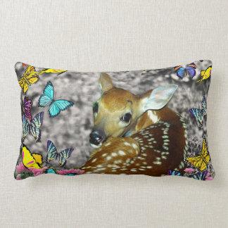 Bambina the White-Tailed Fawn in Butterflies Lumbar Pillow
