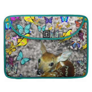 Bambina the White-Tailed Fawn in Butterflies MacBook Pro Sleeve