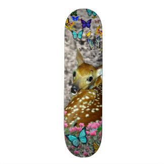 Bambina the White-Tailed Fawn in Butterflies Skateboard