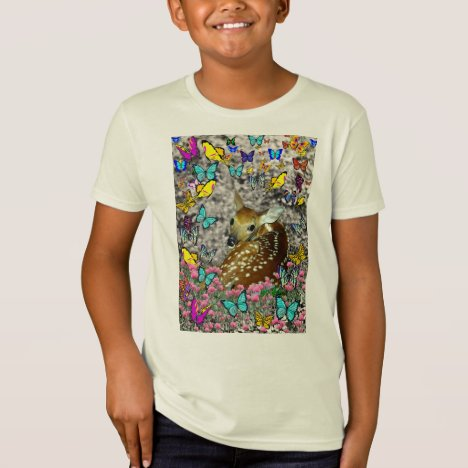 Bambina the White-Tailed Fawn in Butterflies T-Shirt