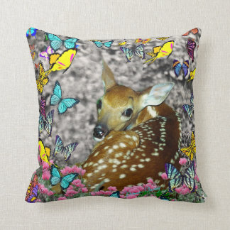 Bambina the White-Tailed Fawn in Butterflies Throw Pillow