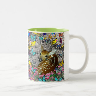 Bambina the White-Tailed Fawn in Butterflies Two-Tone Coffee Mug