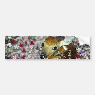 Bambina the White-Tailed Fawn in Flowers I Bumper Sticker