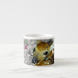 Bambina the White-Tailed Fawn in Flowers I Espresso Cup
