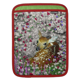 Bambina the White-Tailed Fawn in Flowers I iPad Sleeve