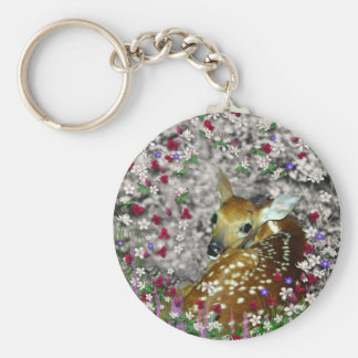 Bambina the White-Tailed Fawn in Flowers I Keychain