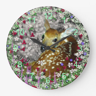 Bambina the White-Tailed Fawn in Flowers I Large Clock