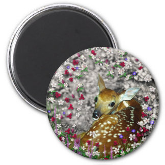 Bambina the White-Tailed Fawn in Flowers I Magnet