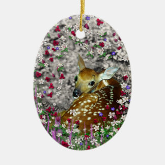 Bambina the White-Tailed Fawn in Flowers I Ornaments