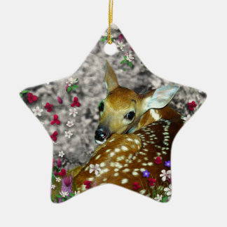 Bambina the White-Tailed Fawn in Flowers I Ornament