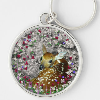 Bambina the White-Tailed Fawn in Flowers I Silver-Colored Round Keychain